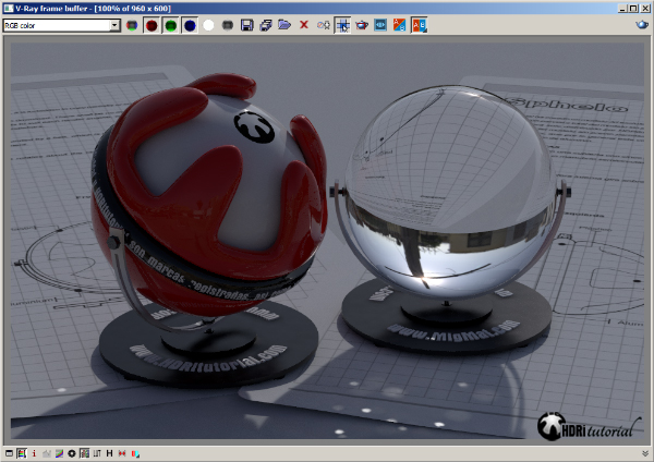 First rendeer test HDRi in VRayLight dome